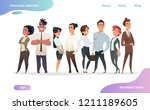 collection of charming young... | Shutterstock .eps vector #1211189605