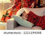 happy asian girl sleeping sweet ... | Shutterstock . vector #1211194348