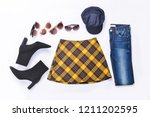 stylish stripy skirt with black ... | Shutterstock . vector #1211202595