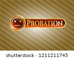 shiny emblem with serious face ... | Shutterstock .eps vector #1211211745
