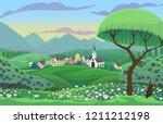 summer vector scene with... | Shutterstock .eps vector #1211212198