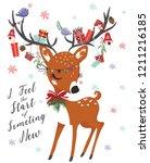 Cute Deer For Christmas Vector...