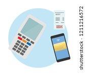 cashless payment on mobile | Shutterstock .eps vector #1211216572