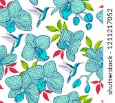 seamless pattern exotic bird... | Shutterstock . vector #1211217052
