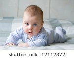 little baby boy leaning on his... | Shutterstock . vector #12112372