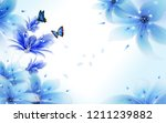 Stock photo light background with blue air lilies and flying butterflies 1211239882