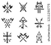 vintage weapon emblems set.... | Shutterstock .eps vector #1211250775