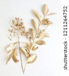 golden leaf and fruit design... | Shutterstock . vector #1211264752