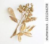 golden leaf and fruit design... | Shutterstock . vector #1211266258