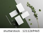 business cards blank mockup and ... | Shutterstock . vector #1211269465