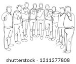 continuous line drawing of a... | Shutterstock .eps vector #1211277808