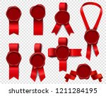 wax stamp ribbons set of... | Shutterstock .eps vector #1211284195