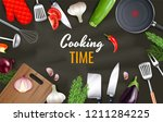 cooking time background with... | Shutterstock .eps vector #1211284225