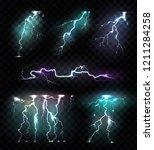 realistic lightning bolts... | Shutterstock .eps vector #1211284258
