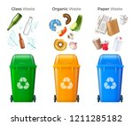 trash and recycling set with... | Shutterstock .eps vector #1211285182