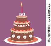 birthday cake  50 years  vector ... | Shutterstock .eps vector #1211285212