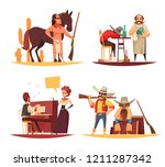 cowboy design concept with flat ... | Shutterstock .eps vector #1211287342