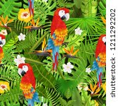 seamless pattern with exotic... | Shutterstock .eps vector #1211292202