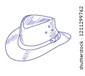 blue cowboy hat sketch | Shutterstock .eps vector #1211299762