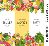 vector flat cute summer...   Shutterstock .eps vector #1211305738