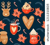 seamless christmas pattern with ... | Shutterstock .eps vector #1211310835