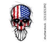 skull with american flag...   Shutterstock .eps vector #1211321392