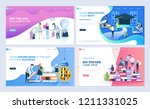 set of landing page template... | Shutterstock .eps vector #1211331025