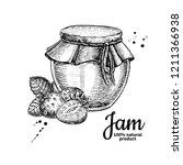 strawberry jam glass jar... | Shutterstock . vector #1211366938