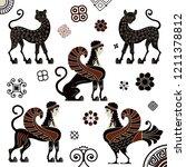 pottery art.stylized ancient... | Shutterstock .eps vector #1211378812