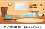 bedroom in blue and orange... | Shutterstock .eps vector #1211384188