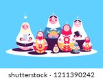 russian traditional nesting... | Shutterstock .eps vector #1211390242