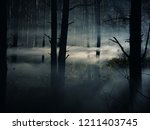 foggy and dark woods at night ... | Shutterstock . vector #1211403745