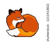 vector pixel cute cartoon fox.... | Shutterstock .eps vector #1211413822