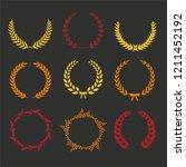 vector laurel autumn wreaths on ... | Shutterstock .eps vector #1211452192