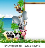 Stock vector animal cartoon with blank sign and tropical beach background 121145248