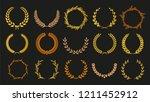 vector laurel autumn wreaths on ... | Shutterstock .eps vector #1211452912
