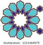 ottoman tile   tezhip motifs... | Shutterstock .eps vector #1211464075