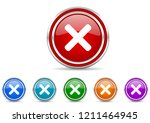 cancel silver metallic colorful ... | Shutterstock .eps vector #1211464945