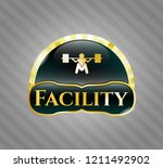 gold shiny emblem with deep...   Shutterstock .eps vector #1211492902