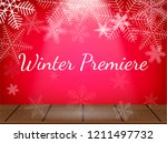 theatre stage with snowflakes.... | Shutterstock .eps vector #1211497732