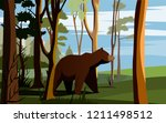 the bear comes out of the forest | Shutterstock .eps vector #1211498512