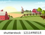 village landscape with mill and ... | Shutterstock .eps vector #1211498515