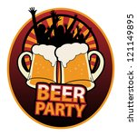 label with the beer mugs and... | Shutterstock .eps vector #121149895