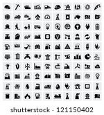 vector black industry icons set ...