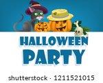 halloween party festive banner... | Shutterstock .eps vector #1211521015