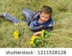 happy childhood time. happy boy.... | Shutterstock . vector #1211528128