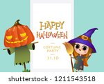 happy halloween costume party... | Shutterstock .eps vector #1211543518