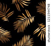 seamless pattern. gold tropical ... | Shutterstock .eps vector #1211544748
