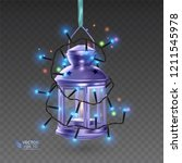 the magic lamp of purple color  ... | Shutterstock .eps vector #1211545978
