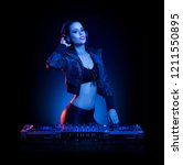 hot dj woman in party outfit ... | Shutterstock . vector #1211550895